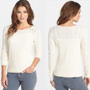 Lucky Brand Modern Pointelle Sweater Ivory